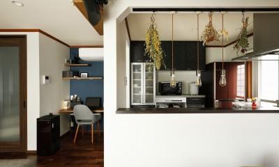 ふたりと2匹の心地よい家 (吊戸棚を撤去し大開口を実現したキッチン)