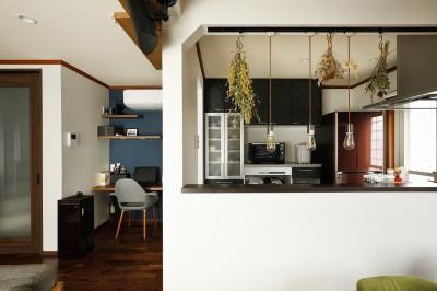 吊戸棚を撤去し大開口を実現したキッチン (ふたりと2匹の心地よい家)