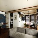 ふたりと2匹の心地よい家の写真 ブルーのアクセントクロスが映えるワークスペース