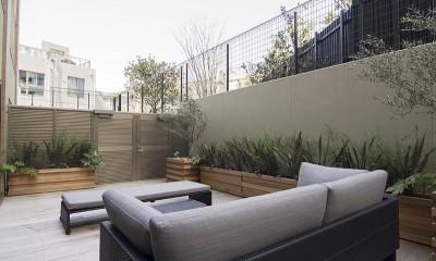 ガーデンテラスのあるオフィス〜新築マンションリノベーション (テラス)