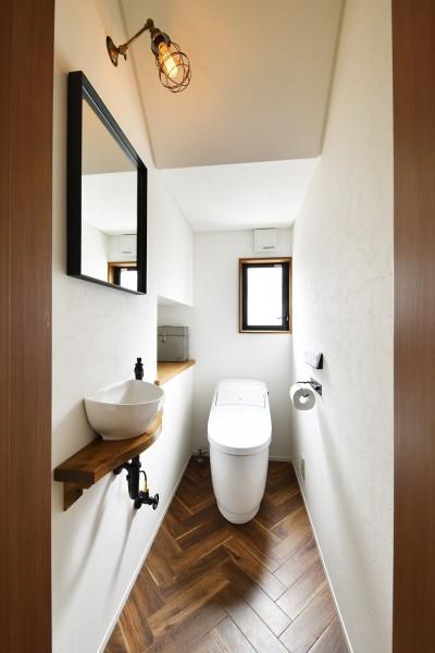 落ち着いた色合いでヴィンテージ感のあるトイレ (こだわりのメキシカンモダン)