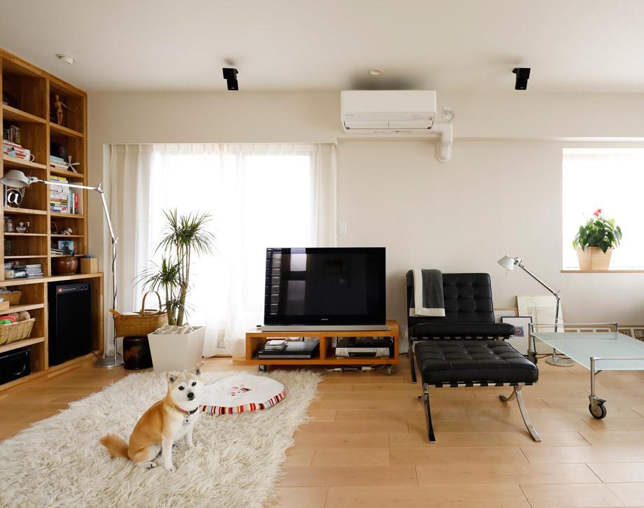 ニューヨークで気に入った高い天井と間接照明を実現。趣味は大胆に魅せて収納。 (可動できる家具でスッキリしたスペースを)