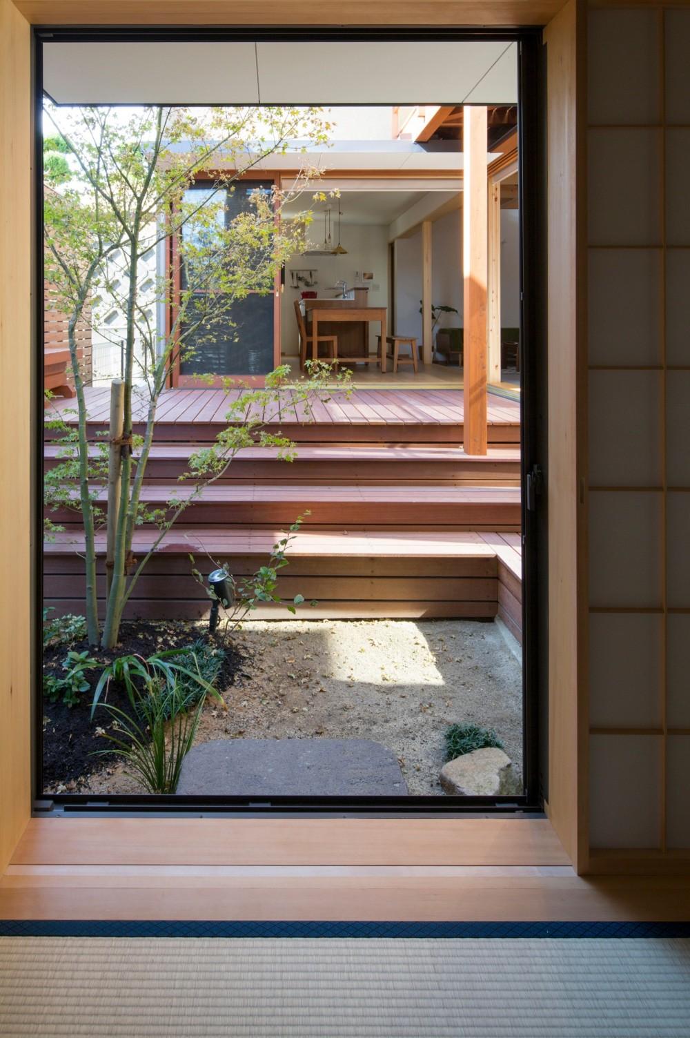 日吉台の家/大きな屋根の下にスキップフロアで各部屋が繋がる大らかな住まい (和室から中庭を見る/土地の高低差を活かした立体的な中庭)