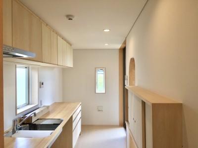 休耕地の家|キッチン1 (休耕地に建つ女性のための住宅)