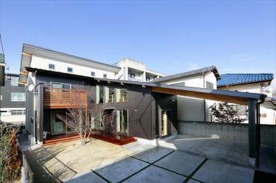 外観 (大屋根と木の温もりに包まれた家)