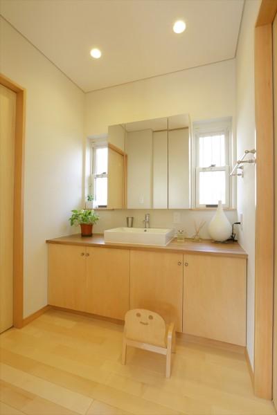 洗面室 (大屋根と木の温もりに包まれた家)