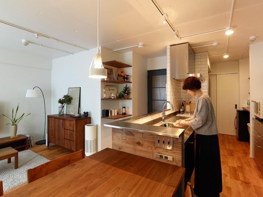 愛猫2匹と自然素材との暮らし (キッチン)