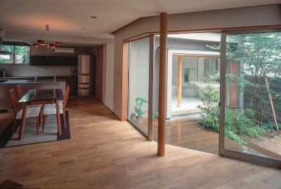 中庭を通してお風呂リビングを見る (仕事場のある家|あなたの場所・自分の居場所を創る|階段と対面キッチンをカウンターで結び合わせ)