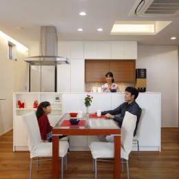 仕事場のある家|あなたの場所・自分の居場所を創る|キッチンとの関係性を良好に家事コーナーのコミュニティ (キッチンとのつなが良好な仕事場)
