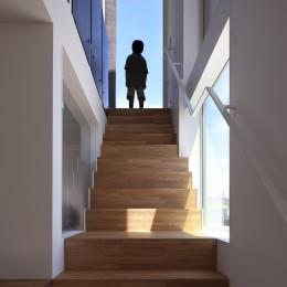 仕事場のある住まい|あなたの場所・自分の居場所づくり|個室と家族空間の結び目 ミニマムなワークコーナー (ソラと結ばれた階段空間|二階への登り降りが楽しくなる)