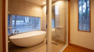 バスルーム (新築別荘の建築設計&インテリア:長野.軽井沢 01)