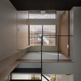 小江戸川越の町家 ー小間を立体的に繋げた現代的町家ー (路地に面する居間)