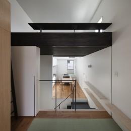 小江戸川越の町家 ー小間を立体的に繋げた現代的町家ー (居間から食の間を見る)