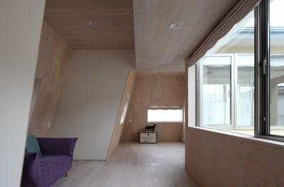 仕事場のある住まい|あなたの場所・自分の居場所を創る|思い出の品々も受け止める マルチタスクな場所 (2階の斜め壁空間)
