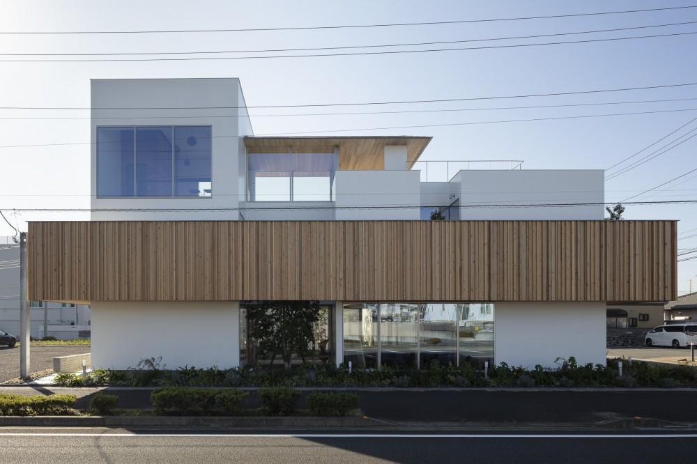30mの道路側外観 (ロードサイドの家 ー幹線道路脇に建つ水盤のある家ー)