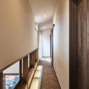 アウトドアリビングでおもてなしをする家#京都亀岡市の別荘の写真 床から光を放つ2階廊下