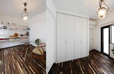 白を基調にしたシンプル居室 (ローズウッドが映える古都鎌倉の住まい)