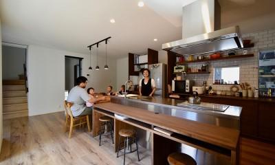 藍いろの家~横葺きのガルバリウム外壁が特徴の家型のおうち。家型フォルムの中の通り土間は家族のお気に入り~ (ステンレスのキッチンがお似合い~お家の中心ダイニングキッチン)