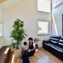 藍いろの家~横葺きのガルバリウム外壁が特徴の家型のおうち。家型フォルムの中の通り土間は家族のお気に入り~の写真 吹き抜けで2階子供部屋とつながるリビング