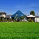 藍いろの家~横葺きのガルバリウム外壁が特徴の家型のおうち。家型フォルムの中の通り土間は家族のお気に入り~の写真 田園風景の中の藍いろの家~四季を通じて風景に馴染む