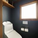 ふたりと2匹の心地よい家の写真 ネイビーのクロスが印象的なトイレ