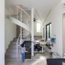 6坪のオアシス〜明るく 機能的で 美しい 超狭小住宅!〜の写真 スキップフロアのLDK