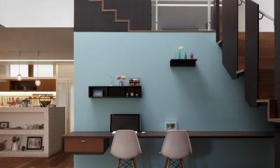 仕事場のある住まい|あなたの場所・自分の居場所を創る|みずみずしいブルーが印象的なWorking Space (Working Space)