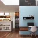 仕事場のある住まい|あなたの場所・自分の居場所を創る|みずみずしいブルーが印象的なWorking Spaceの写真 みずみずしいブルーが印象的な Working Space