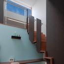 仕事場のある住まい|あなたの場所・自分の居場所を創る|みずみずしいブルーが印象的なWorking Spaceの写真 ソラに向かう階段