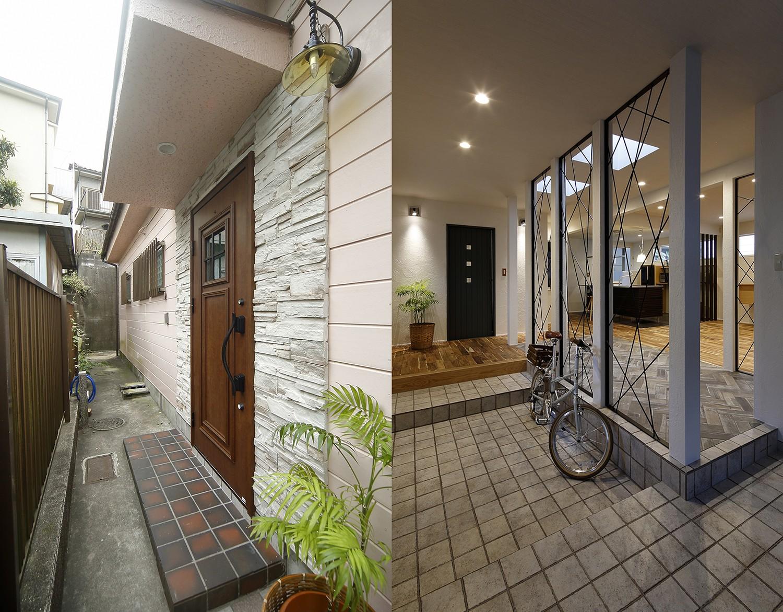 玄関事例:自転車も置ける広々玄関(リノベでこだわりの住まいを実現!)