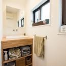 デッドスペースの有効活用と見せる収納の写真 洗面室