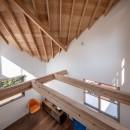 福岡市今川の家/ルーフバルコニーのある狭小住宅の写真 傾斜天井のリビング