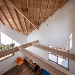 福岡市今川の家/ルーフバルコニーのある狭小住宅 (傾斜天井のリビング)
