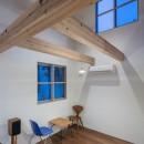 福岡市今川の家/ルーフバルコニーのある狭小住宅の写真 高窓のあるダイニング