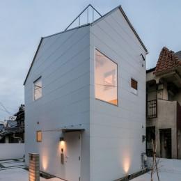 福岡市今川の家/ルーフバルコニーのある狭小住宅 (外観)