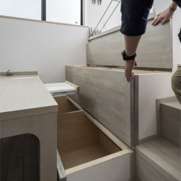 6坪のオアシス〜明るく 機能的で 美しい 超狭小住宅!〜 (ベンチ下の収納)