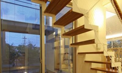 広山の家~ビルトインガレージのあるコートハウス~ (階段)