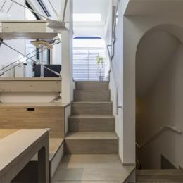 6坪のオアシス〜明るく 機能的で 美しい 超狭小住宅!〜 (スキップフロアの動線)