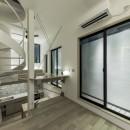 6坪のオアシス〜明るく 機能的で 美しい 超狭小住宅!〜の写真 防火壁を利用したドッグラン
