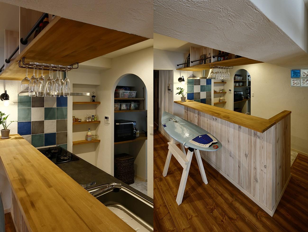 キッチン事例:「海」がテーマのキッチン(「海を感じるリゾート」夢をかなえた住まい)