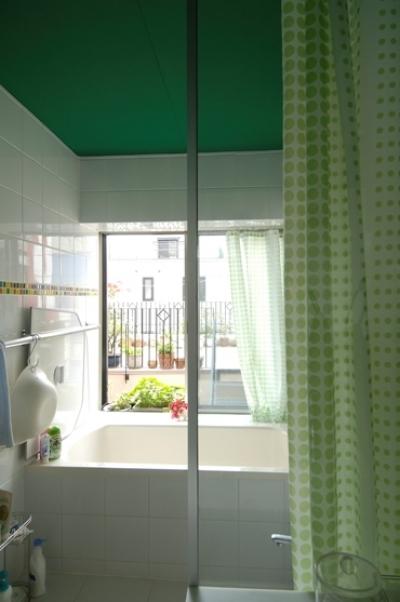 パティオのある家 (緑天井の浴室)