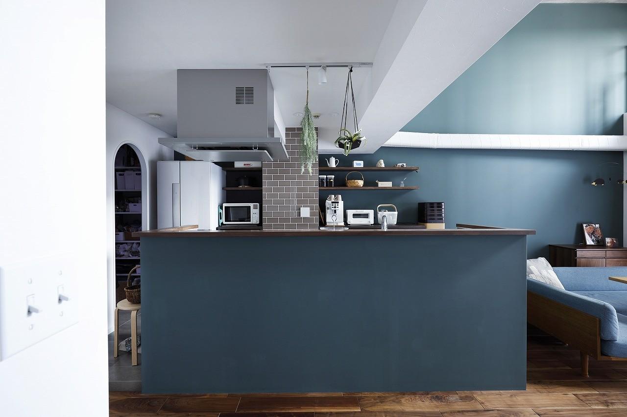 キッチン事例:カウンター側面の色が印象的なキッチン(溶け合うテイスト)