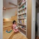 幾何学模様に出会えるまちの家の写真 階段下の読書スペース