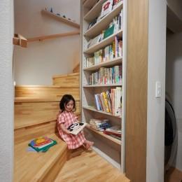 幾何学模様に出会えるまちの家 (階段下の読書スペース)
