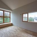 木々と木の窓の家の写真 景色の窓・採光の窓