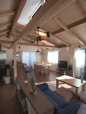 地下に個室のあるコンパクトな2階建て住宅 (リビングルーム)