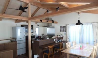 地下に個室のあるコンパクトな2階建て住宅 (ダイニングとキッチン)