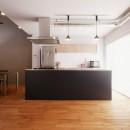N様邸_2人で塗った壁のアクセントカラーの写真 アイランドキッチン
