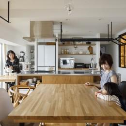 ゆい-家族がポジティブに暮らすためのバリアフリー。将来に備えてリノベーション (ダイニングキッチン)