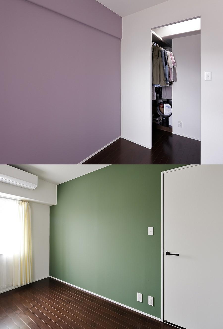 ベッドルーム事例:壁の色でお部屋を一新(予算内で抑えたい!中古物件購入+リノベーション)